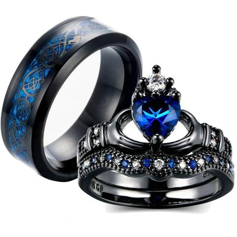 3PC Blue Dragon Knot Claddagh Black Stainless Steel Ring Set