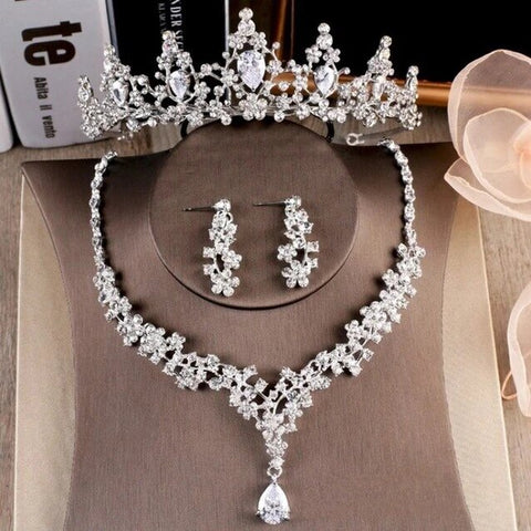 French Wire Pear Cut Zirconia Stainless Jewelry Set