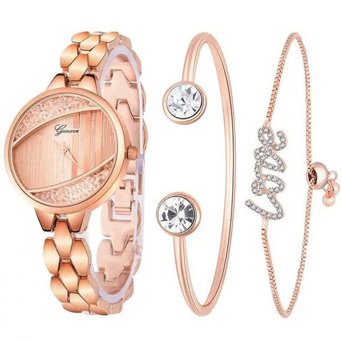 3PC Set Cuff Watch Jewelry Set