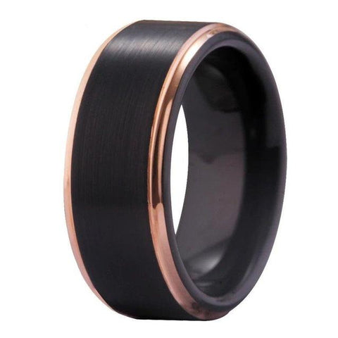 Unisex Rose Gold & Black Tungsten Wedding Ring