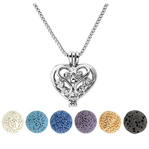 Six Natural Lava Rock Stone Essential Oil Diffuser Necklace