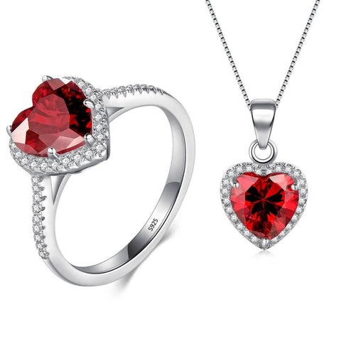 2PC Simulated Red Sapphire Halo Jewelry Set