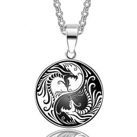 Stainless Steel Dragon Yin Yang Pendant Necklace