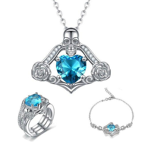 3PC Floral Skull Tribal Stainless Jewelry Set