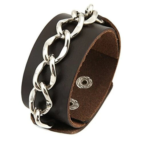 Gothic Brown Leather Link Chain Bracelet