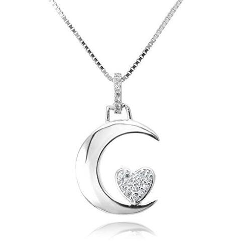 Sterling Silver CZ Silver-Tone Moon Heart Pendant Necklace