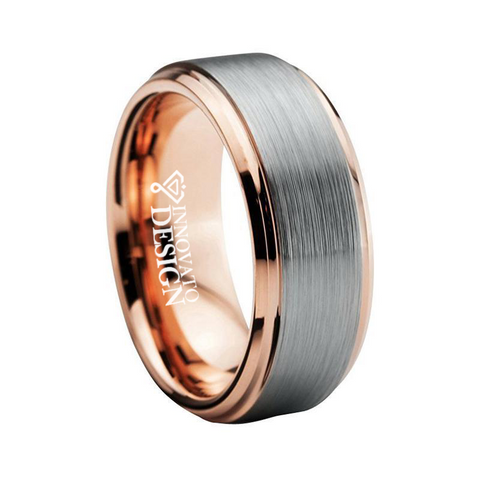 Unisex Brushed Silver & Rose Gold Tungsten Carbide Ring