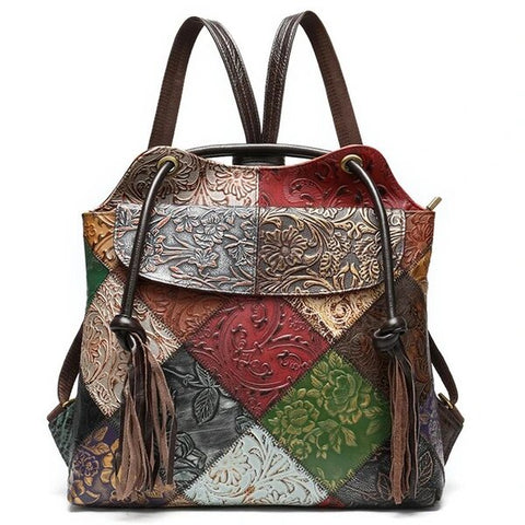 Multipurpose Lady's Sling or Backpack Floral Leather Patchwork Pattern