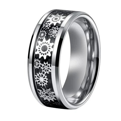 Unisex Silver Gear Tungsten Carbide Black Carbon Fiber Inlay Wedding Band