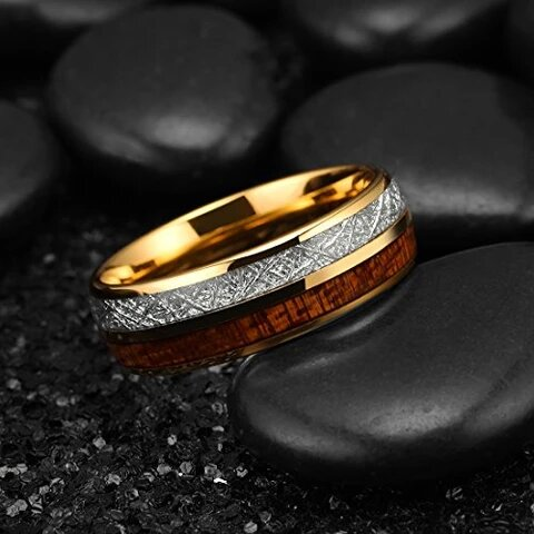 Gold Plated Tungsten with Imitated Meteorite and Koa Wood Inlay Ring