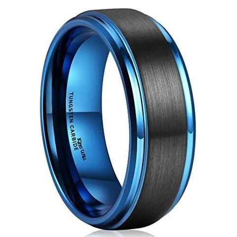 Black Brushed Blue Tungsten Carbide Wedding Band
