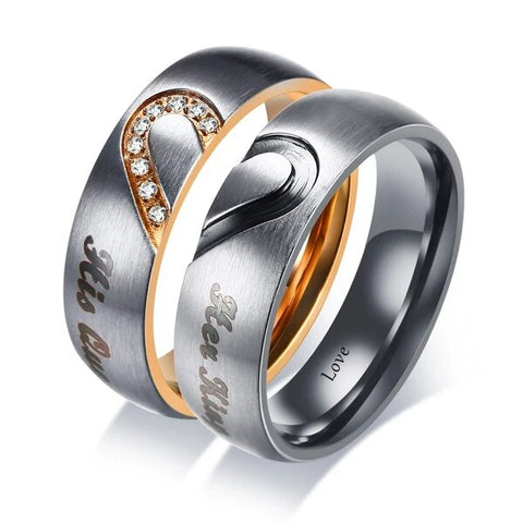 His and Hers Two-Tone Stainless Steel heart and Zirconia Couple Ring