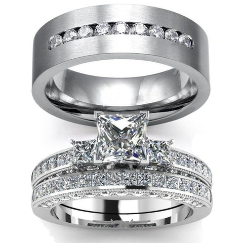 Channel Set Three Stone Zirconia Ring Set