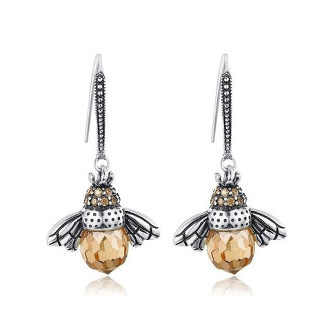Realistic Bee CZ Crystal Sterling Silver Earrings