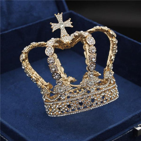 Royal King Crown Cross with Zirconia Stones