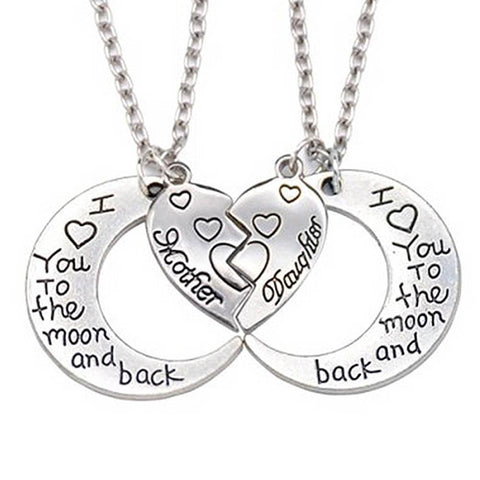 Mom and Daughter Moon Heart Stainless Steel Pendant Necklace