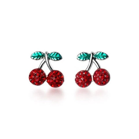 Red, Silver and Green Cherry Stud Earrings 925 Sterling Silver