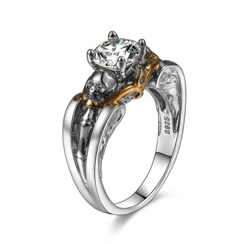 Four Prong CZ Gold & Silver Tone Skull Ring