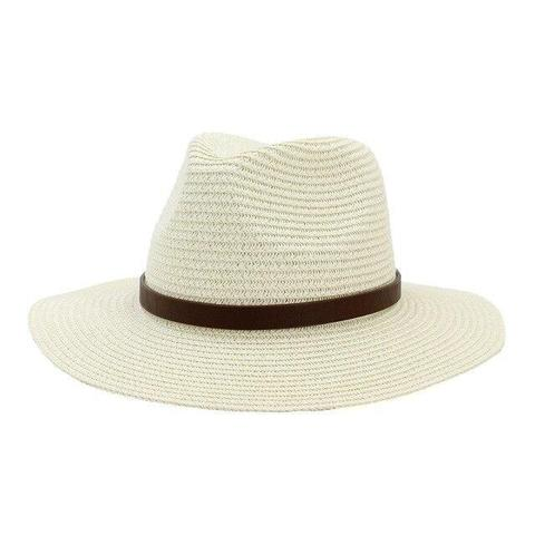 Classic Brown Leather Hatband Panama Hat (8 Available Colors)