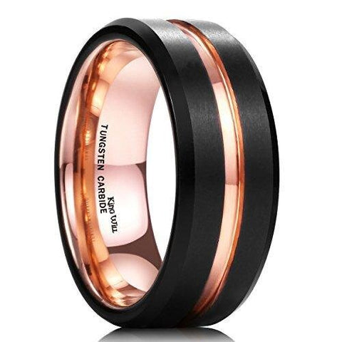 Men's Rose Gold Plated Black Matte Tungsten Carbide Ring