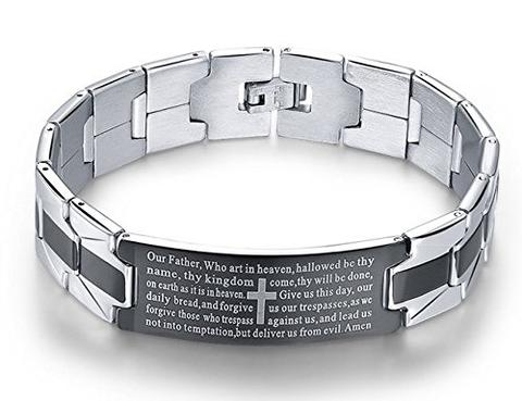 Stainless Steel Black Silver Gray Cross English Prayer Bracelet