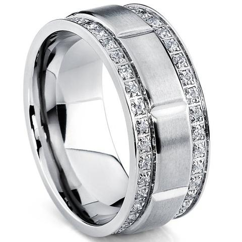 Men's Double Row CZ Titanium Wedding Band