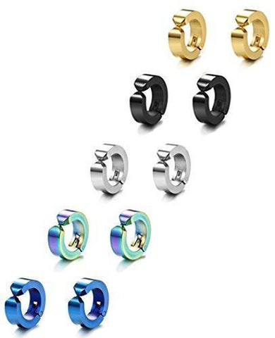 5 or 6 Sets Plated Stainless Clip-on Earring Huggie