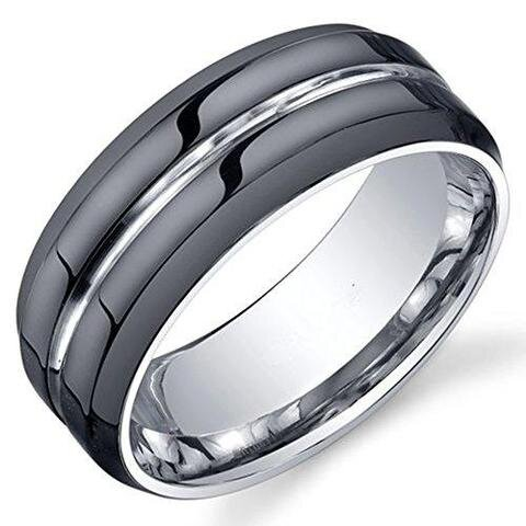 Classic Tungsten Grooved Polished Lesbian Gay Black Wedding Band