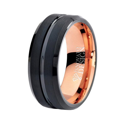 8mm Black Center Groove Rose Gold Tungsten Carbide Ring