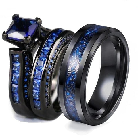 3PC Blue Zirconia Dragon Black Stainless Ring Set