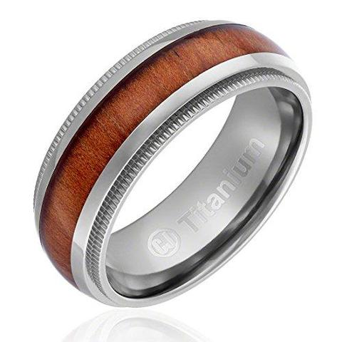 Wood Inlay Domed Milgrain Edges Titanium Wedding Band