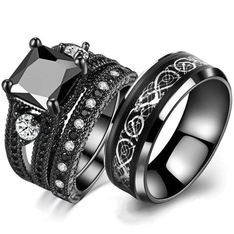 Black & White Zirconia Pave Silver Dragon Stainless Ring Set