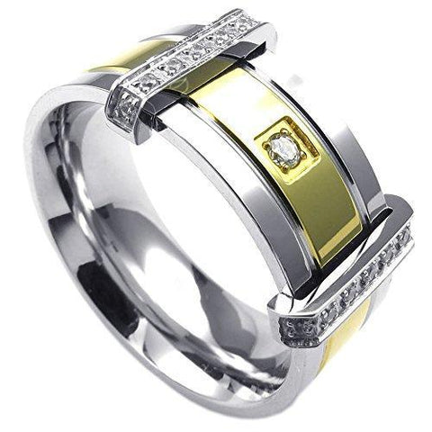 High Fashion Silver and Gold Gypsy Set Zirconia Stainless Steel Ring