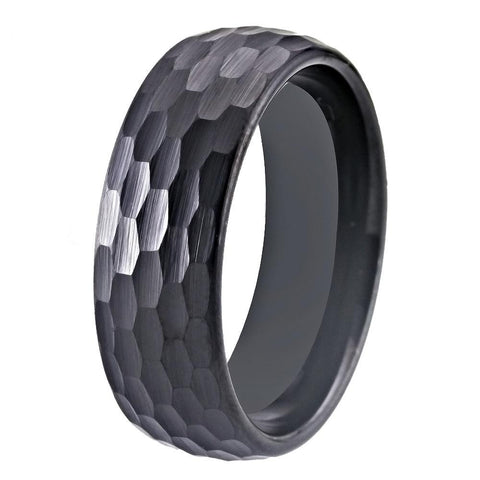 8mm Dome Top Hammered Black Tungsten Carbide Ring