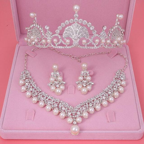 Stainless Fan Feather Pearl Zirconia Bridal Crown Set