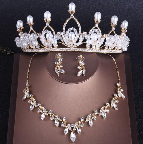 Pearl Top Peacock Feather Gold Stainless Tiara Stainless Jewelry Set