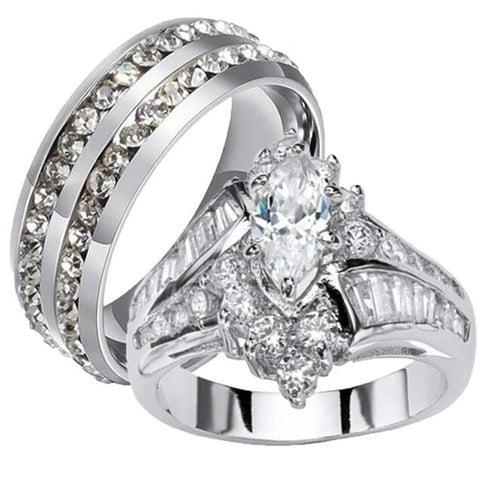 Cluster Set Zirconia Split Shank Stainless Ring Set