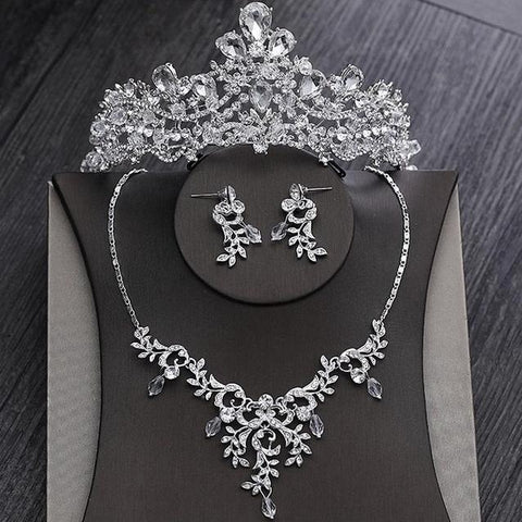 Stainless Foliage Crystal Victorian Bridal Jewelry Set