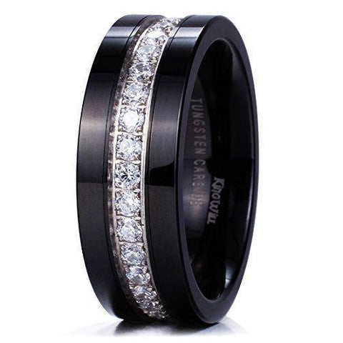 8mm Middle Groove White Crystal Black Tungsten Carbide Ring