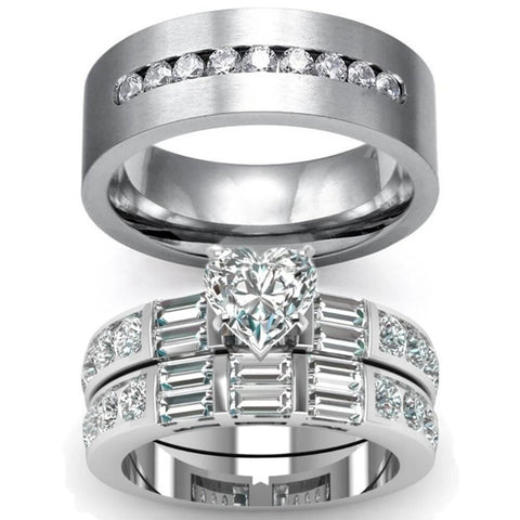 Multi-Cut Zirconia Pave Stainless Ring Set