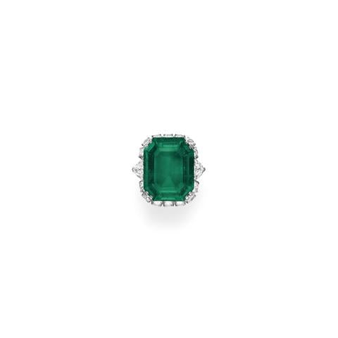 An Emerald and Clear Diamond Ring by Bulgari