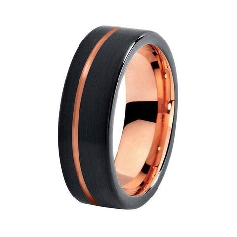 Rose Gold Plated and Matte Black Tungsten Carbide Ring