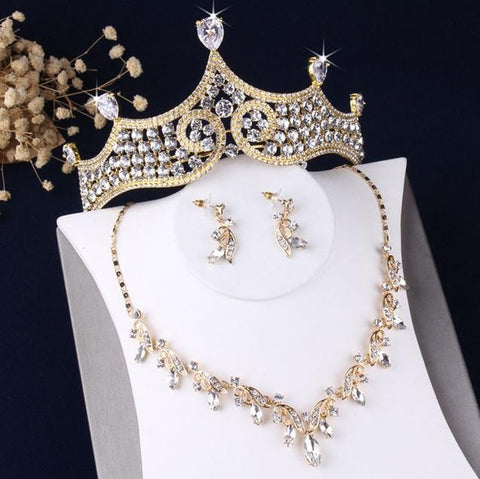 Gold-Tone Baroque Pear Cut Zirconia Stainless Jewelry Set