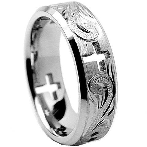 Titanium Ring Cross and Floral Modern LGBTQ Wedding Band