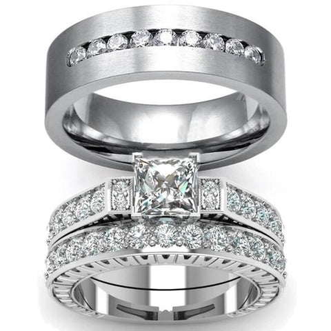 3PC Princess Cut Bezel Stainless Ring Set