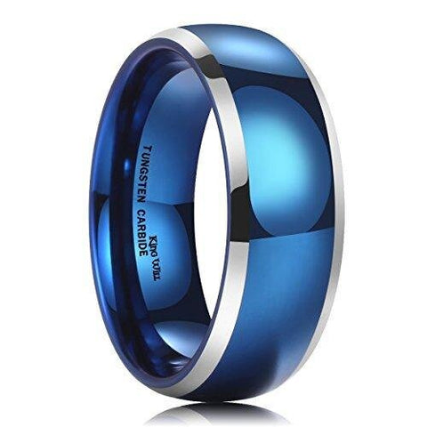 Traditional Men's Blue Silver Dome Tungsten Carbide Ring Wedding Band