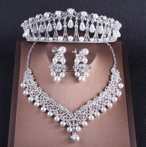 Lovers Pearl Pavilion Tiara Stainless Jewelry Set