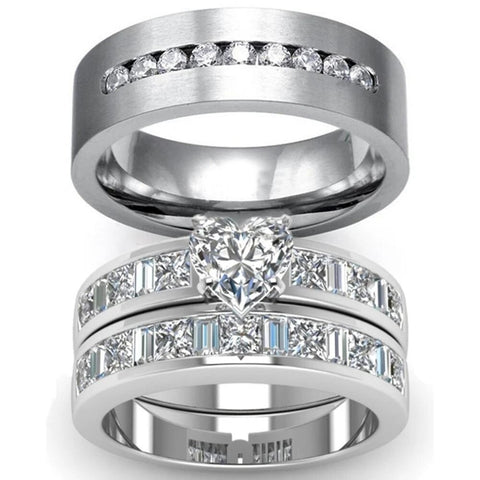 3PC Bezel Pave Heart Zirconia Stainless Ring Set