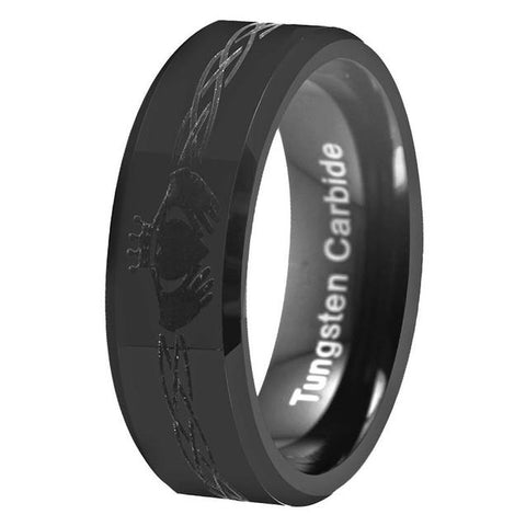 Claddagh Engraved Sleek Black Tungsten Carbide Wedding Band