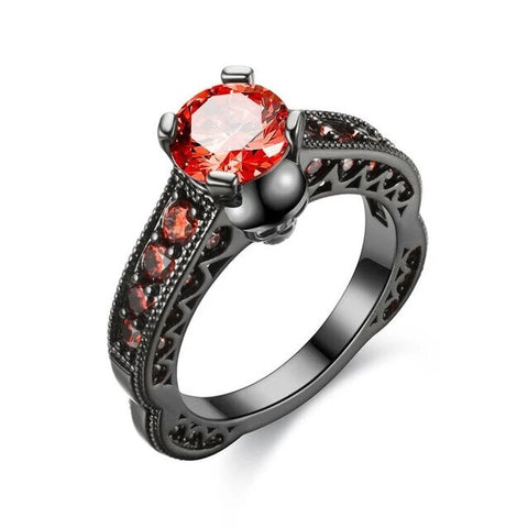 Four Pronged Red Crystal Black Stainless Ring
